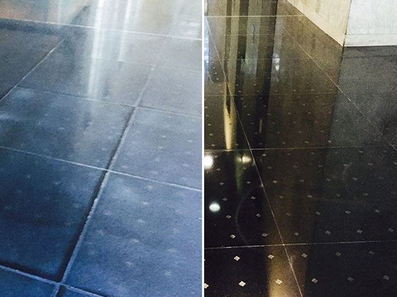 Dull, Worn Granite Floor Refinished